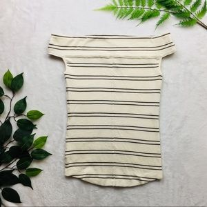 Free People | off the shoulder cream striped tee M